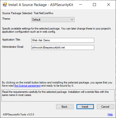 Application configuration form - installation step two