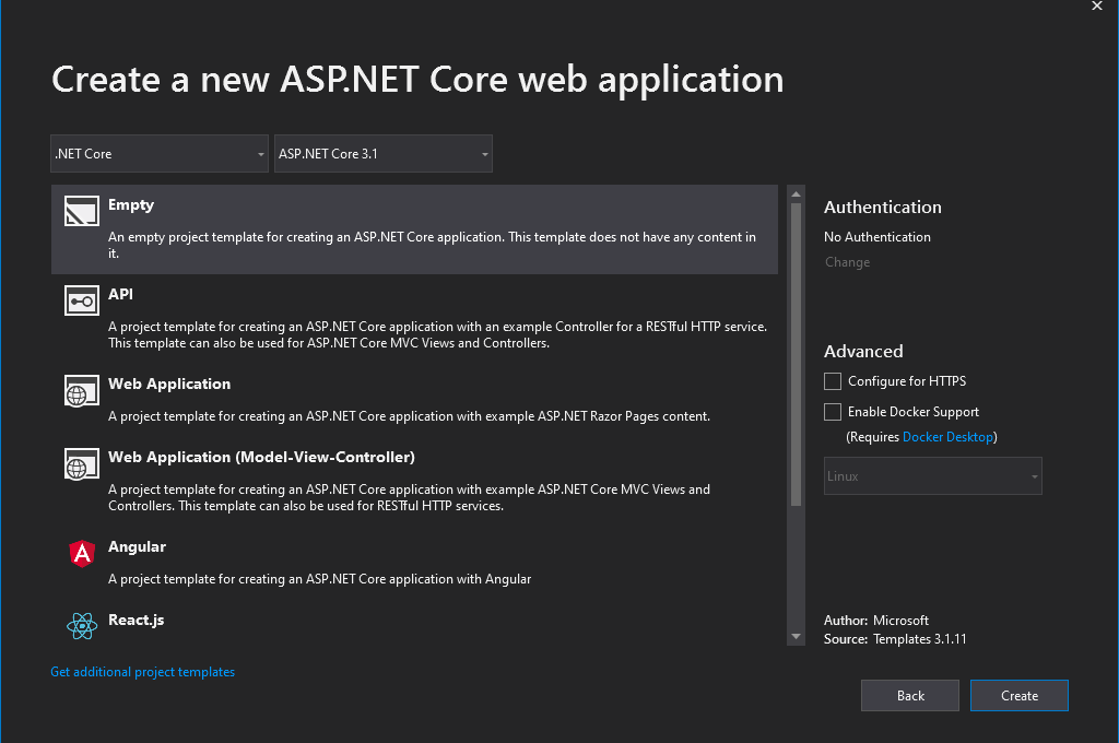 ASP.NET Core Web Application Empty Template